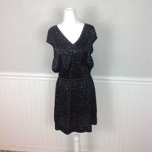 H&M Black Silky Celestial Star V-Neck Dress sz 8